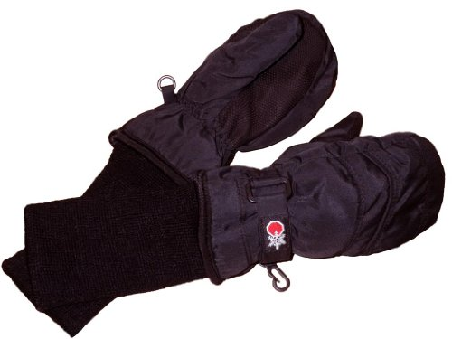 SnowStoppers Kid's Waterproof Stay On Winter Nylon Mittens Small / 1-3 Years Black