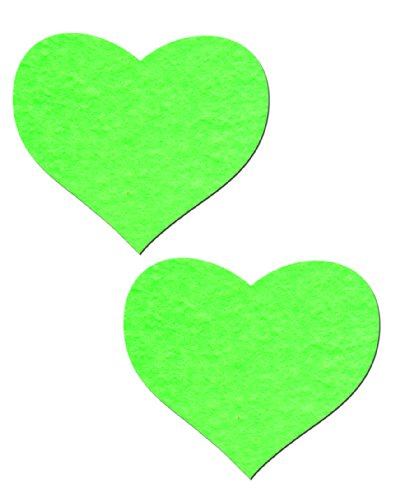 Heart Nipple Pasties Neon Green & Glow-In-The-Dark Pastease O/S