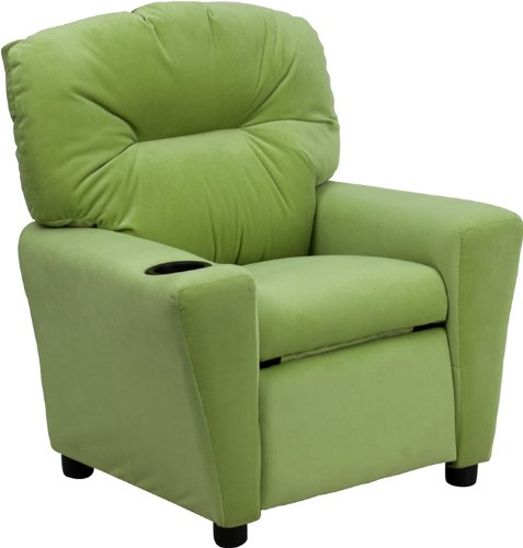 Offex OF-BT-7950-KID-MIC-AVO-GG Contemporary Avocado Microfiber Kids Recliner with Cup Holder