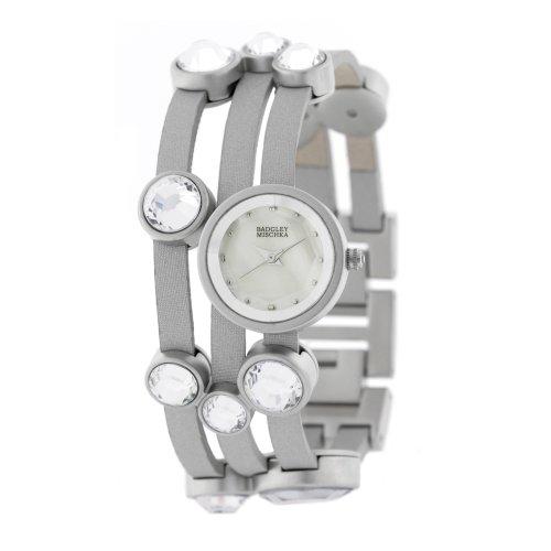 Badgley Mischka Women's BA1181MPGY Swarovski Crystals Silver-Tone and Grey Leather Strap Watch