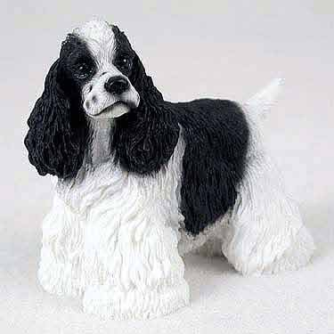 COCKER SPANIEL Dog Black and White Parti NEW Figurine stands RESIN DF15E by Conversation Concepts