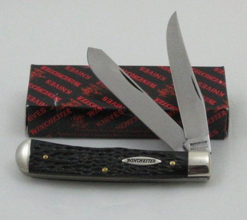 Winchester U.S.A. 2 Blade Trapper Black Delrin Handles