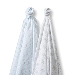 SwaddleDesigns SwaddleDuo, Mod Elephant & Chickies Duo (Set of 2 in Pastel Blue)