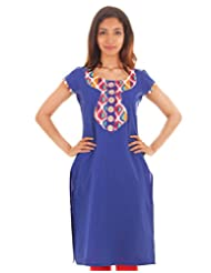 ESTYLe Turkish Sea Blue Cotton Kurta With Mirror Yoke