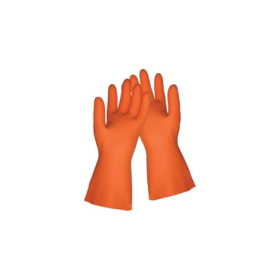 Global Glove 30FT Flock Lined Latex Rubber Diamond Pattern Glove with Straight Cuff, Chemical Resistant, 30 mil Thick, Extra Large, Orange (Case of 144)