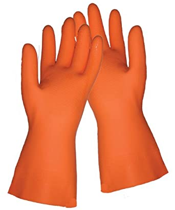 Global Glove 30FT Flock Lined Latex Rubber Diamond Pattern Glove with Straight Cuff, Chemical Resistant, 30 mil Thick, Large, Orange (Case of 144)