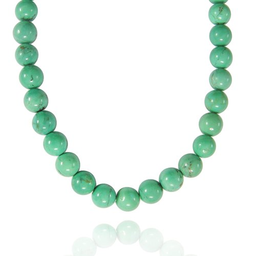 8mm Round Turquoise Bead Necklace, 30+2