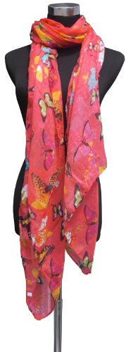 Large Coral Pink, Butterfly and Flower Design Chiffon Scarf or Sarong