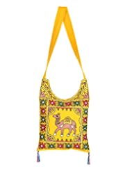 Rajrang Womens Camel Cotton Embroidered Work Yellow Sling Bag