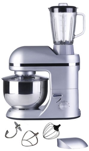 Vivo Professional 1000W Electric Pro Food Stand Mixer & Blender with Splash Guard / 5.5 litre Bowl / Dough Hook / Mixer Blade / Egg Whisk - Metallic Silver from Vivo