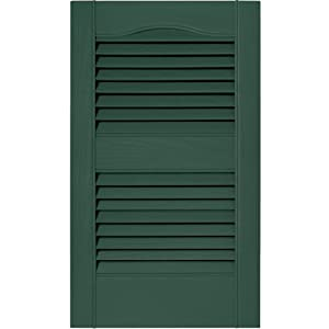 12 in. Vinyl Louvered Shutters in Forest Green - Set of 2 (12 in. W x 1 in. D x 39 in. H (3.6 lbs.))