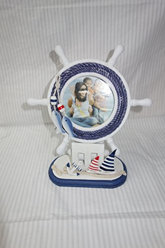 Ship Steering Wheel shaped Nautical Wooden Photo Frame , shabby chic, Perfect for kids room decor (Ship Steering Wheel Table compare prices)