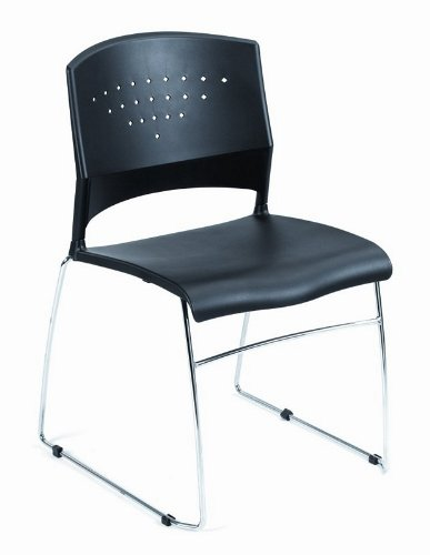 Set of 2 Black Stackable Office Guest Chairs with Chrome Frame