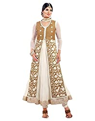 Surat Tex Cream Color Party Wear Embroidered Soft Net Semi-Stitched Salwar Suit-H973DL2006