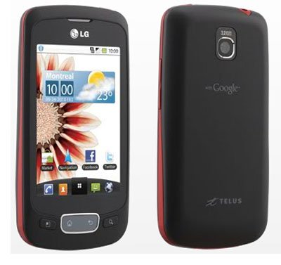 UNLOCKED LG Optimus One P500H 3G Phone BLACK with RED Border, Google Android, NEW, BULK PACKAGED, 2G GSM 850/900/1800/1900MHZ, 3G HSDPA 850/1900MHZ
