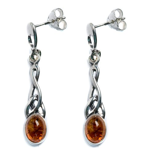 Certified Genuine Honey Amber and Sterling Silver Small Oval Celtic Earrings