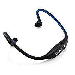 Gearonic Sports Wireless Stereo Bluetooth Wrap Around Earphones Headset Headphone for Samsung iPhone Cellphone PC - Non-Retail Packaging - Blue