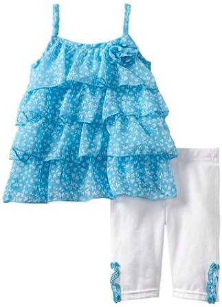 Little Lass Baby-Girls Infant 2 Piece Layered Chiffon Skimmer Set, Aqua, 24 Months