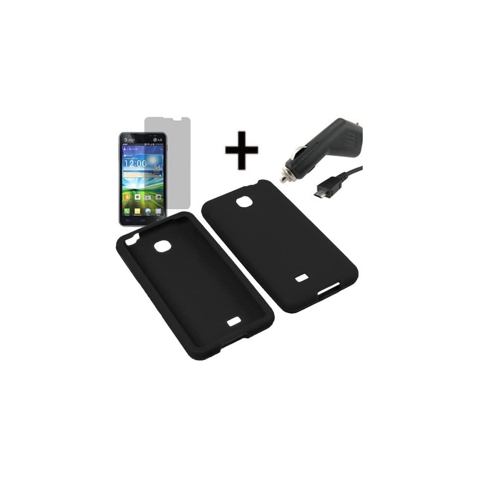 AM Soft Silicone Sleeve Gel Cover Skin Case for AT&T LG Escape P870+ LCD + Car Charger Black