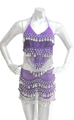 2-piece Sexy Belly Dancing Coin Hip Scarf and Coin Top Set - Purple with Silver Coins