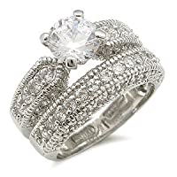 Antique Inspired Pave CZ Wedding Set