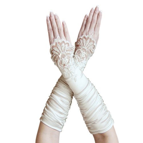 ZaZa Bridal Gathered Satin Fingerless Gloves w/ Floral Embroidery Lace & Sequins-Ivory