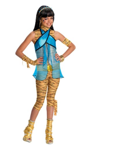 Girls Monster High Cleo de Nile Schoolgirl Mummy Costume And Wig Bundle