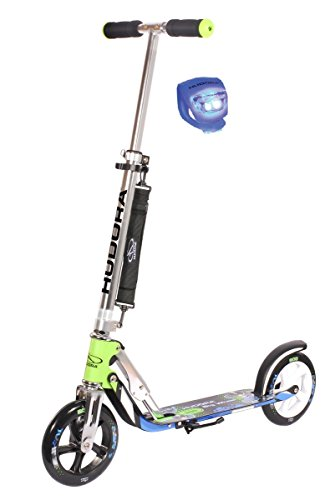 Hudora Scooter / Roller / Cityroller Big Wheel MC / RX 205 mit LENKERLICHT (GRÜN BLAU 14750)
