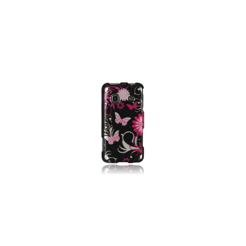 SAMSUNG GALAXY PREVAIL M820   PINK BUTTERFLY FLOWER HARD SKIN CASE COVER