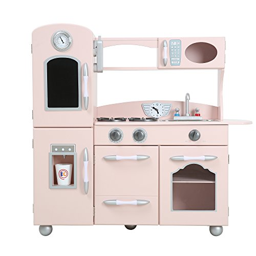 Teamson Kids - Retro Wooden Play Kitchen with Refrigerator, Freezer, Oven and Dishwasher - Pink (1 Pieces) (Vintage Kid Kitchen compare prices)
