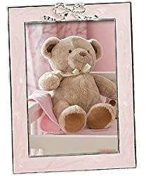 MADELINE pink enamel and silverplated baby bow frame - 4x6