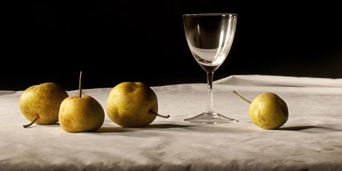 12x24 in. Justin Wheeler Still Life: Pears with Wine Glass images
