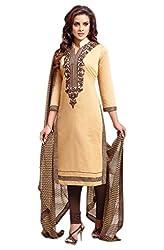Craftliva Beige & Brown Embroidery Chanderi Cotton Dress Material