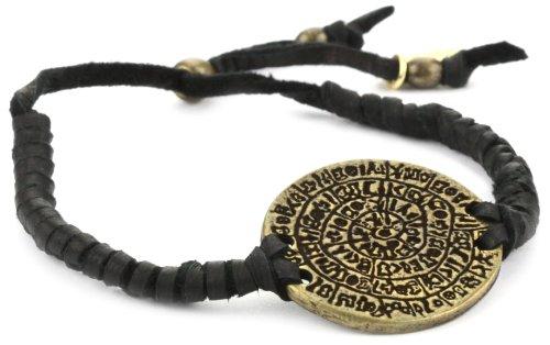 Ettika Men's Black Adjustable Leather Bracelet Brass Phaistos Coin Charm
