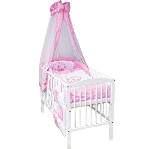 Baby bed cot 120 x 60 white - Complete with matress - bed linen - cot-bumper - canopy - 11 Piece Bedding Set, Variation:white/pink_princess_1295