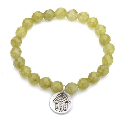 Satya Jewelry Olive Jade Silver Hamsa Devotion Stretch Bracelet