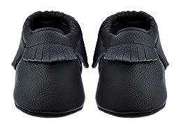 Sayoyo Baby Black Tassels Soft Sole Leather Infant Toddler Prewalker Shoes (0-6 months, Black)