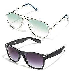 MagJons Green Aviator And Black Wayfarer Sunglasses Set Of 2 (With Box)