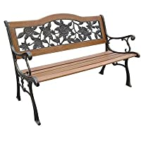 DC America SLP2660BRSP, Rose Resin Back Park Bench, Cast Iron legs, Rust-free Resin Back, and Hardwood Slats, Rust Resistant Bronze Finish from DC America