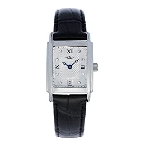 Rotary Ladies Date Rectangular Dial Genuine Black Leather Strap Watch LS72829-01