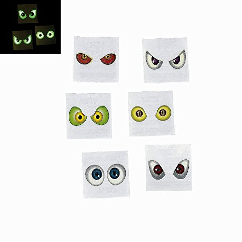 72 Pcs. Glow-in-the-Dark Eyeball Tattoos - 6 Dozen - Halloween Spooky Eyes
