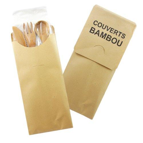 Packnwood 210Cvbak4 Biodegradable Bamboo Knife/Fork/Spoon/Napkin Cutlery Kit (Pack Of 250)