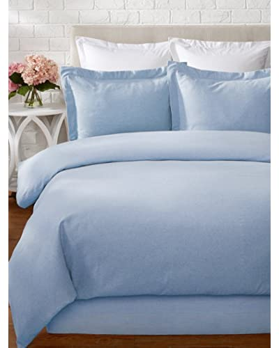 Belle Epoque Heathered Solid Flannel Duvet Set, Blue, Twin