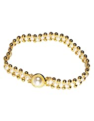 Surat Diamonds Real Rice Pearl & Gold Plated Beads Bracelet For Women (SB12)