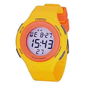TIME100 Multifunction LCD Round Dial Yellow Silicone Strap Outdoor Sports Digital Watch #W40109M.04A