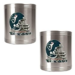 Houston Texans 2pc Stainless Steel Can Holder Set- Helmet Logo NFL Football