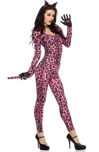 Oh So Sexy Pink and Black Animal Print Catsuit Costume