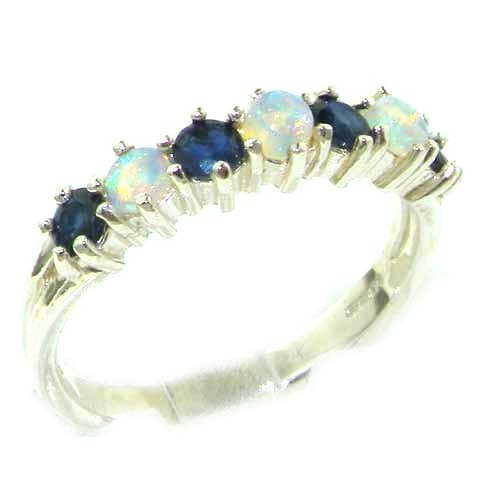 High Quality Solid Sterling Silver Natural Fiery Opal & Sapphire Eternity Ring - Finger Sizes L to Z Available