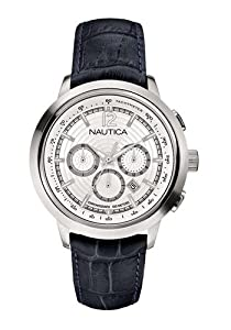 Nautica Mens Japanese Quartz Chronograph Silver Dial SS Case Black Leather Watch A19589G