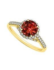 Garnet And CZ Specially Designed Engagement Ring In Yellow Gold Plated Vermeil Best Price Range